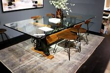 "94"" L Dining Table Industrial Crank Glass 3/4"" Top Black walnut and Iron Base"