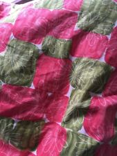 """Art Deco 1940s Pink Green Floral PELAW Quilt Bedspread 58"""" x 62"""" Stage Prop"""