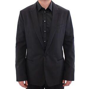 DOLCE & GABBANA Jacket Blazer Black Silk Wool Blend IT54 / US44 / XL