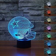 New Dallas Cowboys Light Up 3D Helmet Lamp 7 Colors Night Light Decor Champs Fan