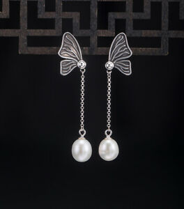 I04 Earring Butterfly With White Freshwater Pearls An Chain Silver 925