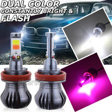 2 H11 H8 H9 H16 Dual Color 2-Mode Flash LED Fog Light Bulb 6K White + Pink Purle