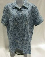 Women's Size 16W Blue and White Floral Charter Club Button Up Top