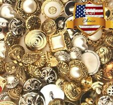 Buttons Galore Vintage Assorted Art Bundle Gold Silver Bulk Pack of 100 Lot NEW