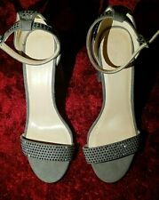 Ladies New Look Glittery Block High Heel, Suede Shoes, Gray - Size 5