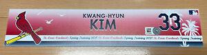2021 St. Louis Cardinals Kwang Hyun Kim ST Game Used Locker Name Plate Korea