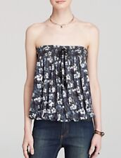 NEW Free People Bodega Bandeau Floral Print Top Tank Cami Navy XS Strapless