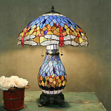 Tiffany Style Stained Glass Dragonfly Accent Reading Table Lamp w/ Lighted Base