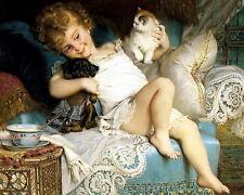 Munier Print c19th Victorian Child PLAYMATES Best Friends Cocker Spaniel Dog Cat