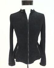 VEUC $160 ARMANI EXCHANGE Peplum Moto Zip Jacket Black/Gunmetal Sparkle Womens S