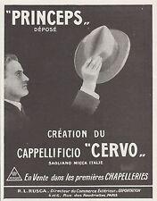 PUBLICITE  CHAPEAUX PRINCEPS CERVO CHAPELLIER CHAPELLERIE   FASHION HAT AD1924