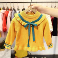 BABY GIRL BOWKNOT TURNDOWN COLLAR WINTER WARM KNITTED SWEATER PULLOVER JUMPER