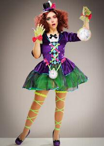 Womens Mad Hatter Gothic Purple Adult Fancy Dress Halloween Fairytale Costume