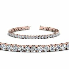 9ct Round Cut VVS1 D Diamond Royal Tennis Bracelet 14k Rose Gold Over