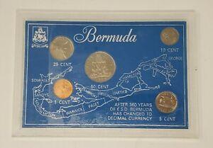 1986 Bermuda 5 Coin Uncirculated set in a Blue Plastic Display Case