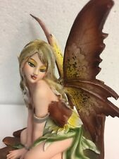 Autumn Fall Fairy on leaf Figurine w Ladybug Fairyland Faery Collection Mystical