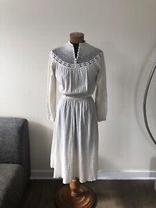 Vintage Cotton Gauze Crochet Dress Ivory XS S Prairie