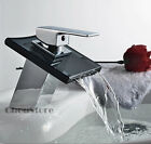 Square Black Glass Waterfall Bathroom Basin Faucets Sink Tap Mixer A146