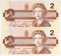 Canada 1986 $2 Uncut Pair of Bills UNC Uncirculated!!