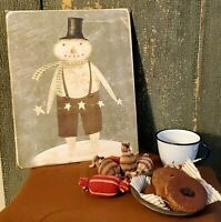 PRIMITIVE ANTIQUE VINTAGE FOLK STYLE CHRISTMAS SNOWMAN  PRINT ART CANVAS 8 X 10