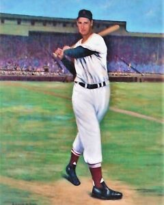 ted williams 8x10 art print boston red sox last to hit 400 2 triple crowns
