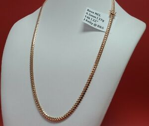 """4.5mm Men's Real Solid 14k Rose Gold Miami Cuban Link Chain Necklace 37G 22"""""""
