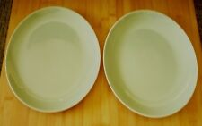 Two Vintage Poole Pottery Oval Plates Platters Greeny Grey