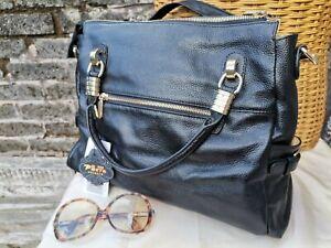 """Vtg 90s Lge PASTE Black Genuine Leather Shoulder X Body Bag. 14"""" Unworn & Labels"""
