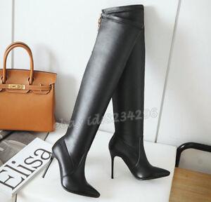 Sexy Boots Overknee Kniehohe Stiefel Damen Stilettoabsatz Schuhe Spitz Zehe Mode