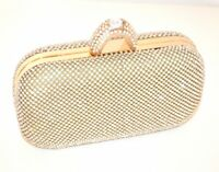 BOLSO CLUTCH bag oro mujer strass cristales matrimonio elegante ceremonia E58