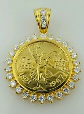 50 peso Mexican coin pendant  necklace  centenario Gold Plated  with CZ stones