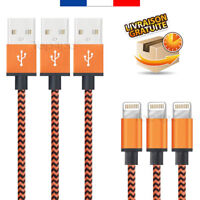 CABLE POUR IPHONE X 8 7 6 5 PLUS IPAD CHARGER USB METAL RENFORCÉ ORANGE 1M 2M 3M