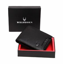 Gift for Father | Mens Genuine Leather Black Wallet Credit Card ID Holder