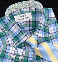 Blue Men's Formal & Business Dress Shirt Green Plaids & Checks Checkered Flannel