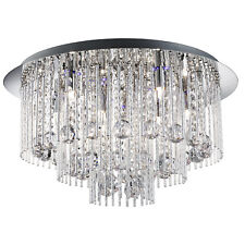 Beatrix Chrome Blue LED Ceiling Light Fitting Interior Lighting Crystal Drops