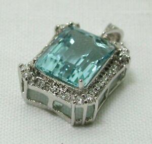 Gorgeous 18 carat White Gold Large Aquamarine And Diamond Pendant