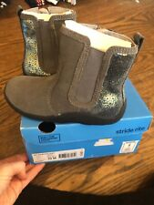 NEW Stride Rite toddler girl Estefana grey sparkly leather suede boots size 10