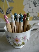 8 Chalk Painted Spotty Dotty Dolly Pegs Tied Ribbon - Pretty Harlequin Pastels