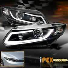 For 2012-2015 Honda Civic Projector Black Headlights W/Glow LED Strip DRL Light