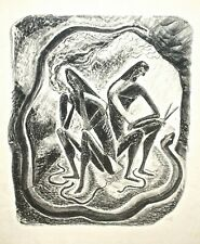 Figures and Snakes Modernist Lithograph Signed Agi