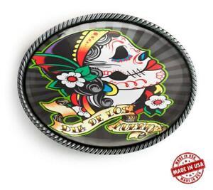 Punk Sugar Skull Girl Mexican Tattoo Handmade Artisan Belt Buckle