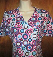Bonita Women's Size S Colorful Circles, Wrap Look Front Cotton Blend Scrub Top