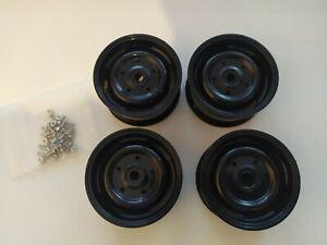 RC crawler wheels rims black steel look 12mm hex  1/10th