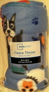 "Mainstays Dog Print Fleece Throw Blanket 50"" x 60"" Blue Reversible Lightweight"