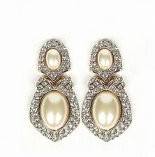BRIDAL GOLD W. IVORY PEARL & CLEAR RHINESTONE CRYSTAL DROP CLIP EARRINGS