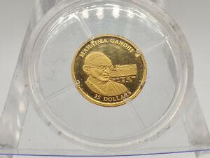 2001 Liberia Proof 25 Dollars PURE GOLD .73g - Mahatma Gandhi Commemorative Coin