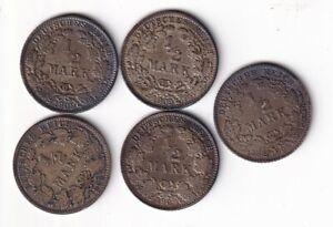 Kaiserreich 1/2 Mark 1909 A, D, E, F und J  nsw-leipzig