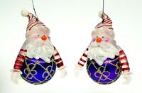 Santa Purple and Gold Glitter Glass Ball Christmas Ornaments Set of 2