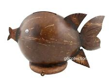 Hand Carved Coconut Shell Fish Coin Piggy Money Bank Keepsake Saving Gift Decor