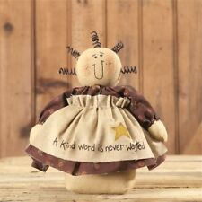 Primitive Country Inspirational Stump Doll W/ A Kind Word Is Never Wasted Apron
